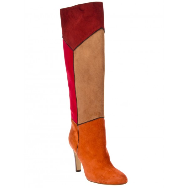 Multicolor Wide Calf Boots Chunky Heel Suede Knee Boots image 4