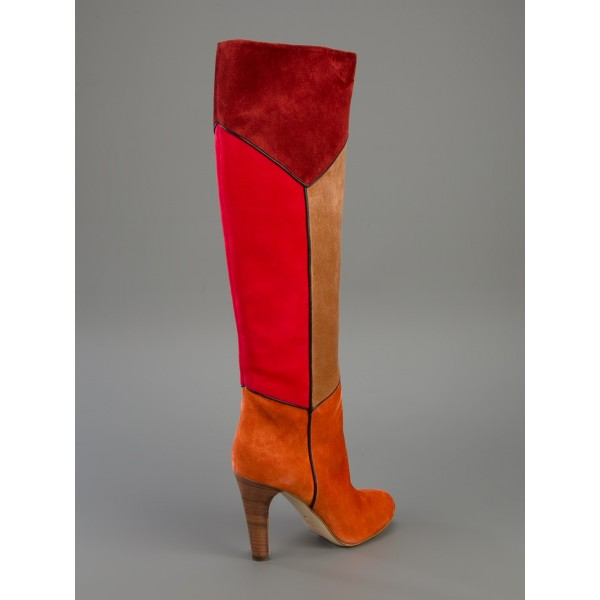 Multicolor Wide Calf Boots Chunky Heel Suede Knee Boots image 5