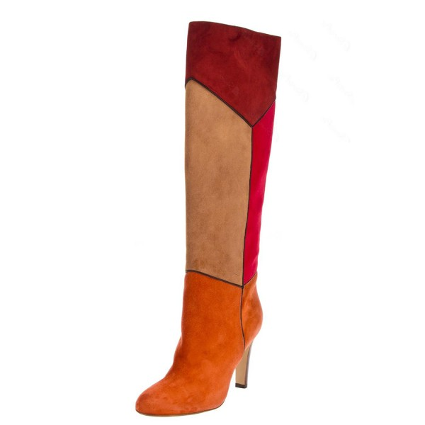 Multicolor Suede Boots Chunky Heel Winter Knee High Boots image 1