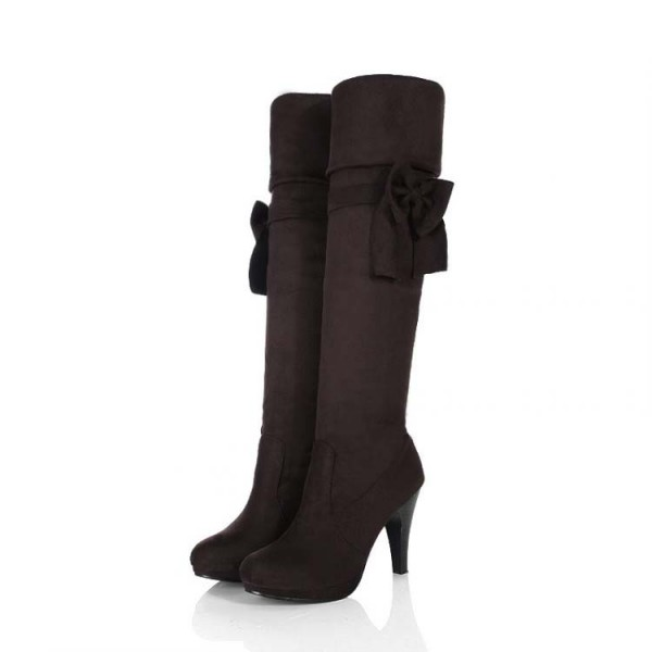 Black Fashion Boots Cone Heel Mid-calf Boots with Bow image 1