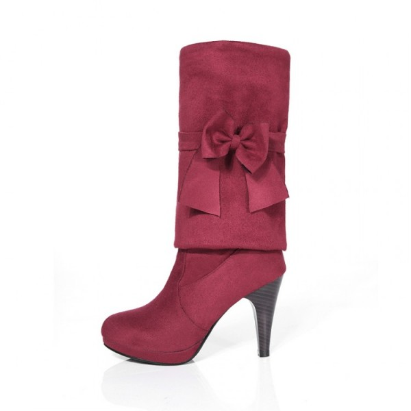 Women's Maroon Fashion Boots Bow Cone Heel Knee High Boots image 2