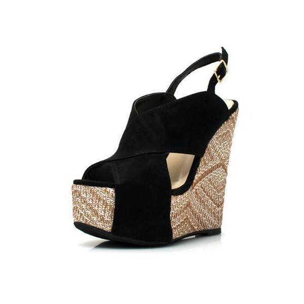 Women's Black Slingback Peep Toe Straps Wedge Sandals image 1