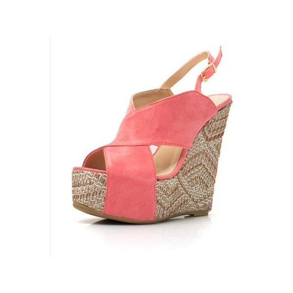 Pink Suede Crisscross Strap Heeled Wedges Peep Toe Slingback Sandals image 1