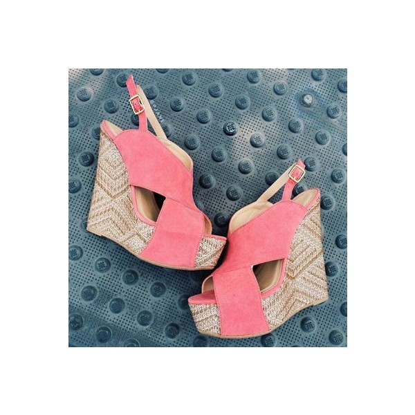 Pink Suede Crisscross Strap Heeled Wedges Peep Toe Slingback Sandals image 2