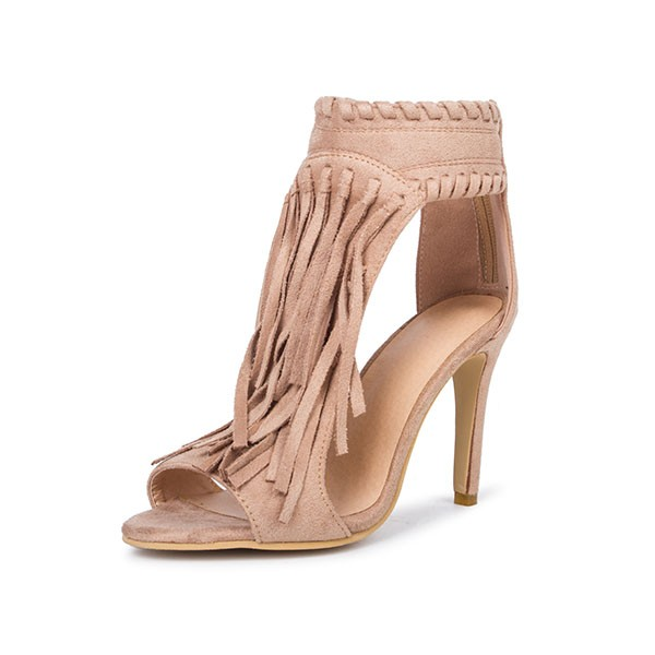 Khaki Fringe Sandals Open Toe 3 Inches Stiletto Heels Shoes image 3