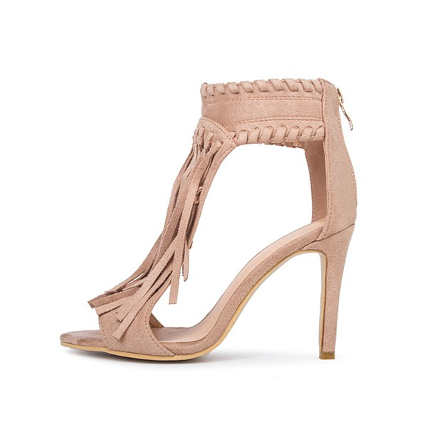 Khaki Fringe Sandals Open Toe 3 Inches Stiletto Heels Shoes image 5