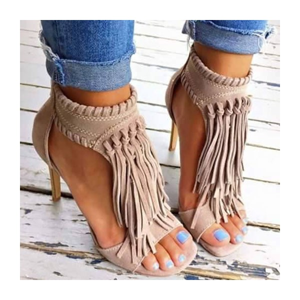 Khaki Fringe Sandals Open Toe 3 Inches Stiletto Heels Shoes image 2