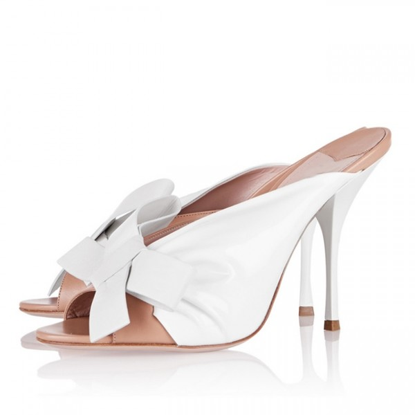 Women's White Peep Toe Stiletto Heels Mules Sandals with Bow image 1