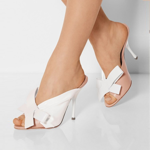 Women's White Peep Toe Stiletto Heels Mules Sandals with Bow image 2