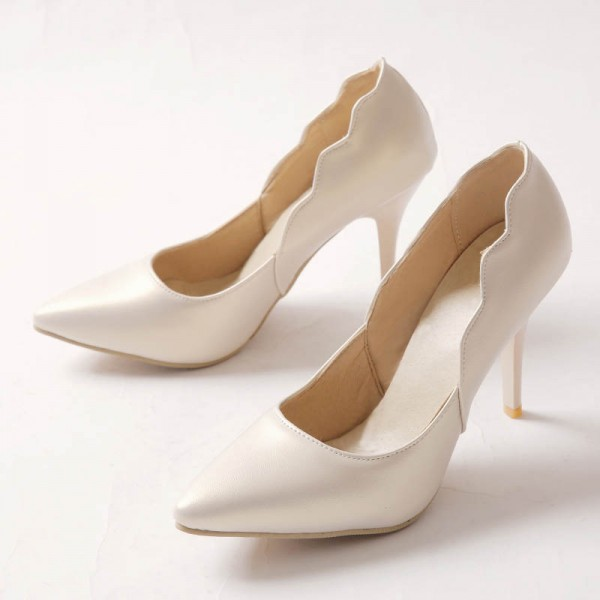 Ivory Heels Curve Pointy Toe Stiletto Heel Pumps Vegan Bridal Shoes image 2