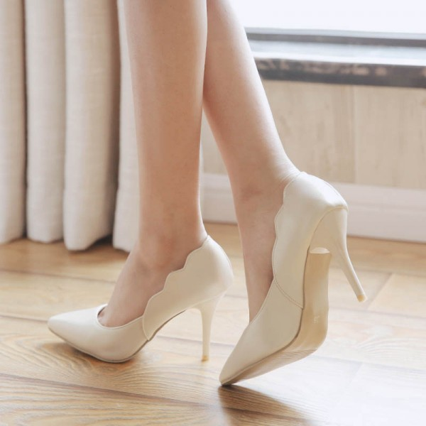 Ivory Heels Curve Pointy Toe Stiletto Heel Pumps Vegan Bridal Shoes image 1