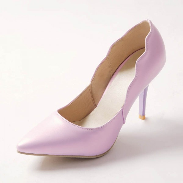 Women's Purple Stiletto Heels Curves Romantic Pointed Toe Shoes image 1