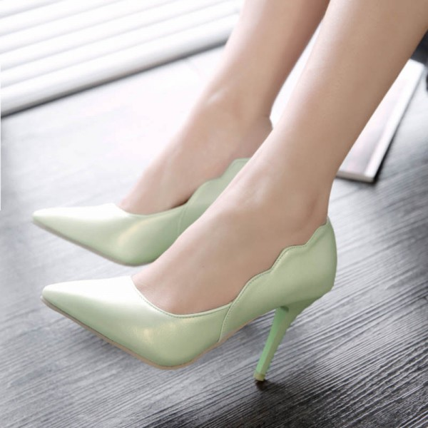 Mint Green Stiletto Heels Pointy Toe Curves Pumps for Women image 1