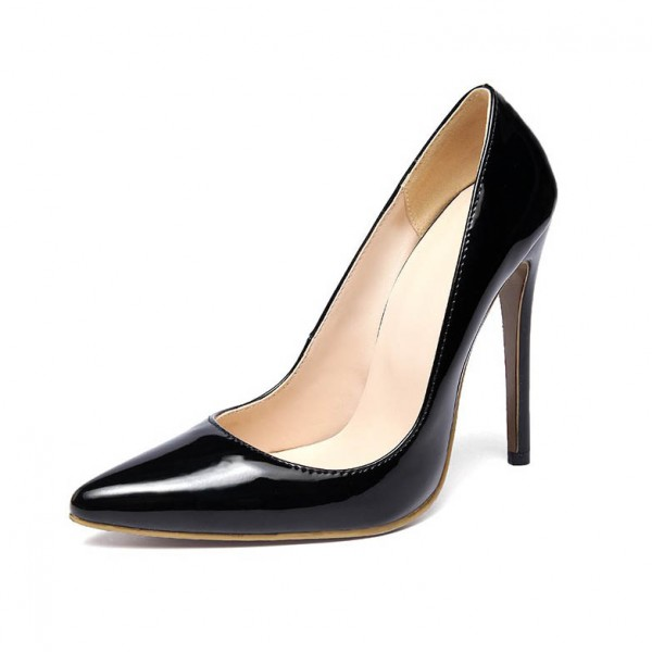 Women's Black Office Heels Low-cut Pointed Toe Stiletto Heel Pumps image 1