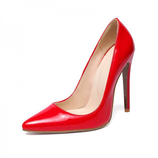 Red Stiletto Heels Patent Leather Pointy Toe Office Pumps image 2