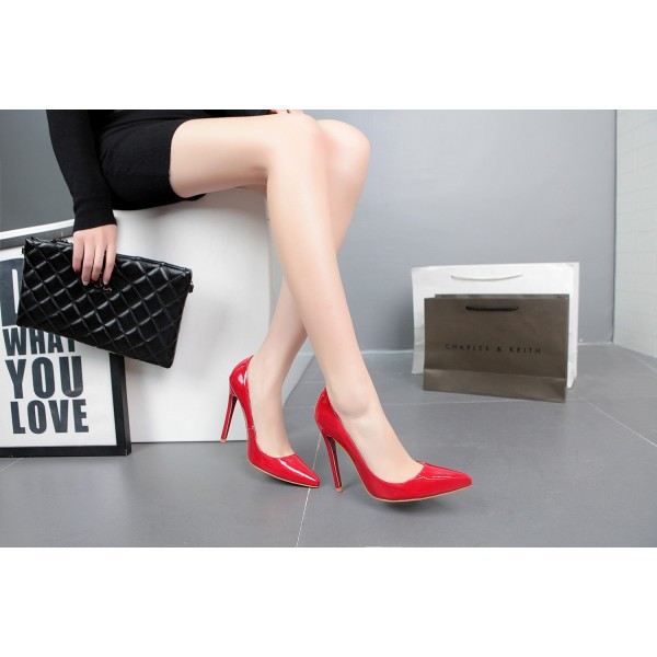 Red Stiletto Heels Patent Leather Pointy Toe Office Pumps image 3