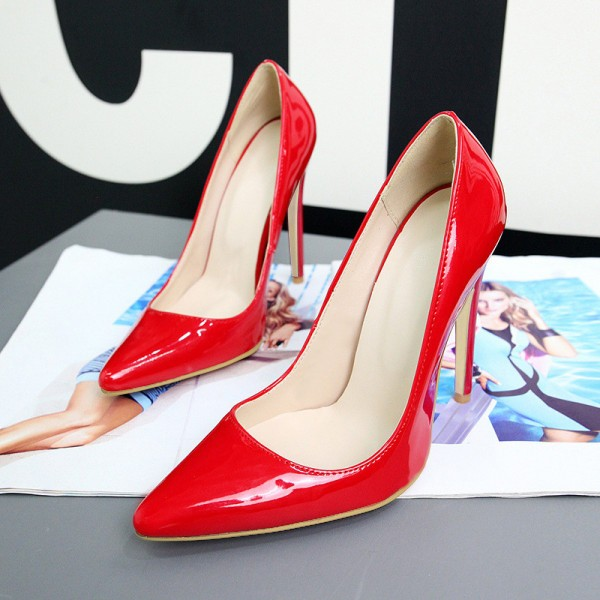 Red Stiletto Heels Patent Leather Pointy Toe Office Pumps image 8