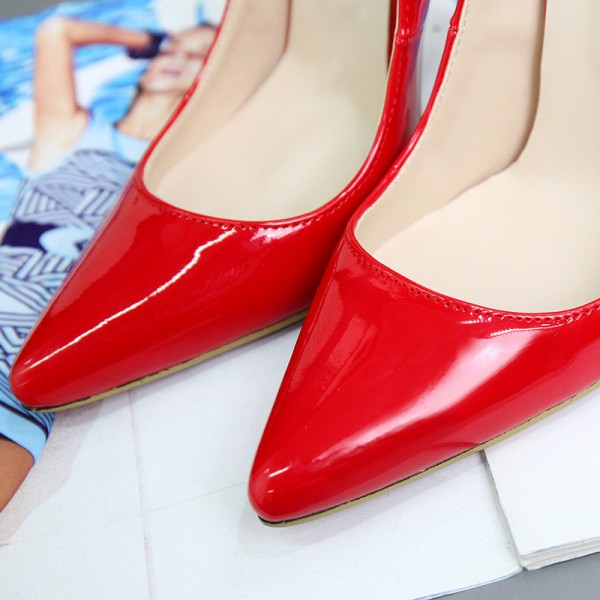 Red Stiletto Heels Patent Leather Pointy Toe Office Pumps image 4