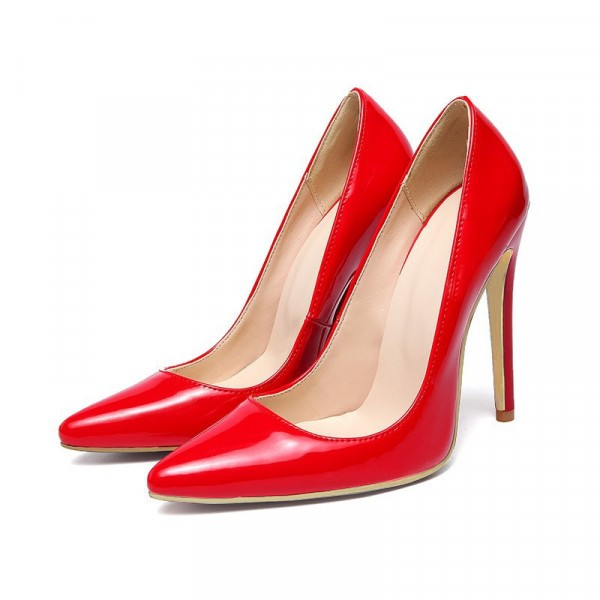 Red Stiletto Heels Patent Leather Pointy Toe Office Pumps image 1