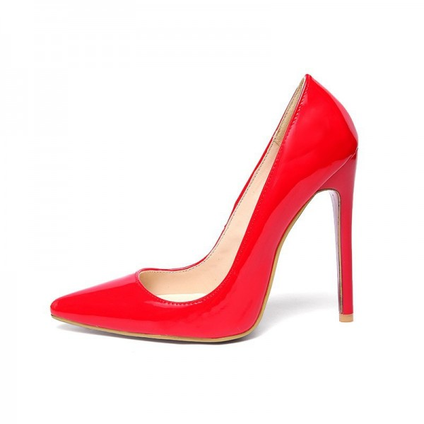 Red Stiletto Heels Patent Leather Pointy Toe Office Pumps image 7