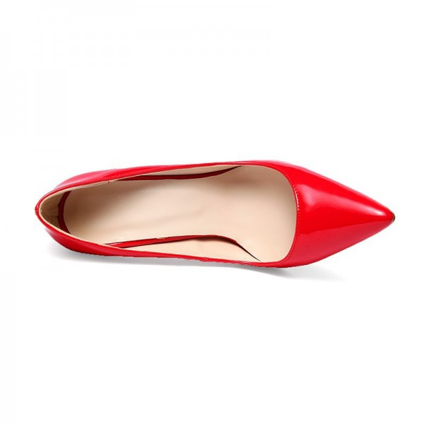 Red Stiletto Heels Patent Leather Pointy Toe Office Pumps image 5