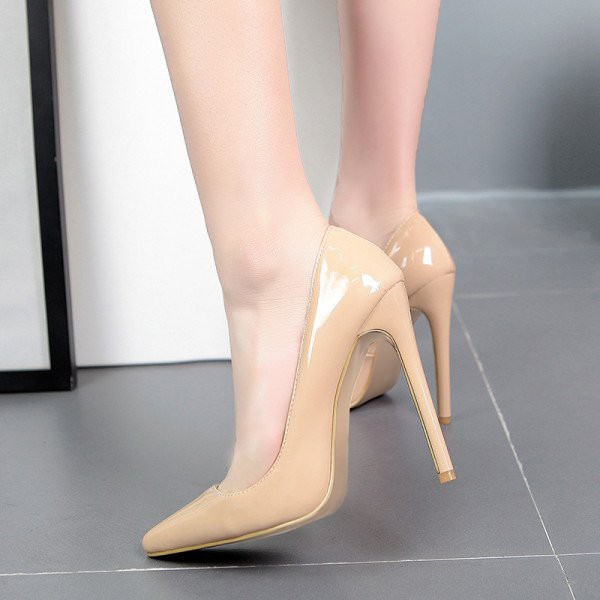Women's Nude Low-cut Pointed Toe Stiletto Heels Pumps Office Heels image 2