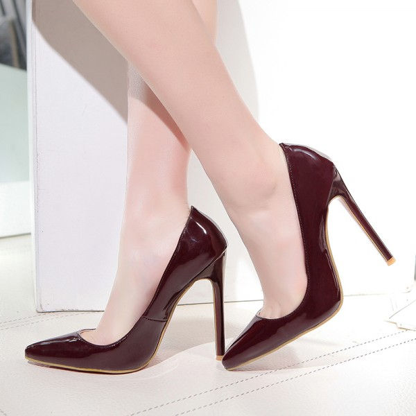 Burgundy Office Heels  Pointy Toe Stiletto Heels Pumps image 1