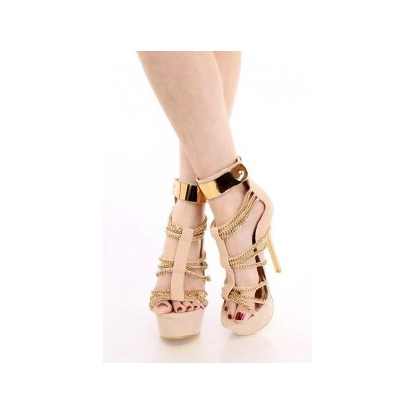 Women's Nude Open Toe Metal Chains Wrapped Platform Stiletto Heels Sandals image 1