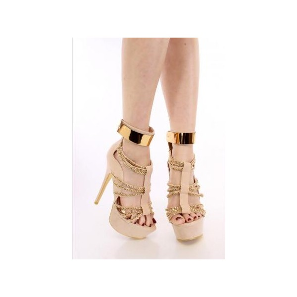 Women's Nude Open Toe Metal Chains Wrapped Platform Stiletto Heels Sandals image 2