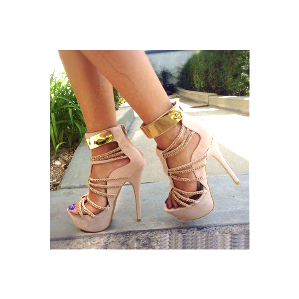 Women's Nude Open Toe Metal Chains Wrapped Platform Stiletto Heels Sandals image 3
