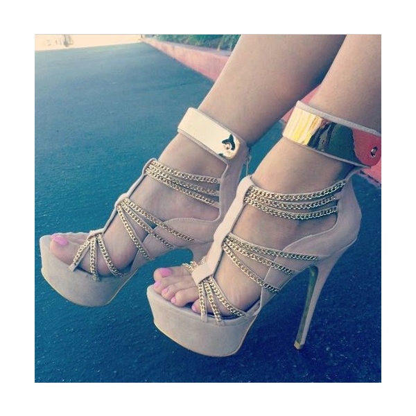 Women's Nude Open Toe Metal Chains Wrapped Platform Stiletto Heels Sandals image 4