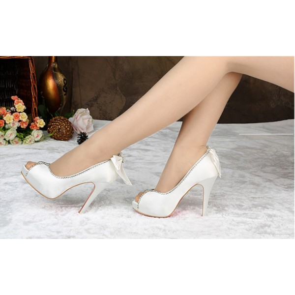 White Bridal Heels Satin Rhinestone Peep Toe Pumps with Bow image 2