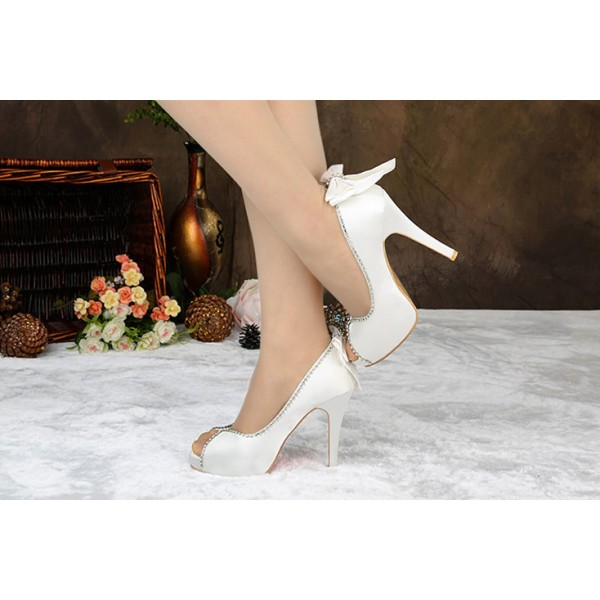 White Bridal Heels Satin Rhinestone Peep Toe Pumps with Bow image 3