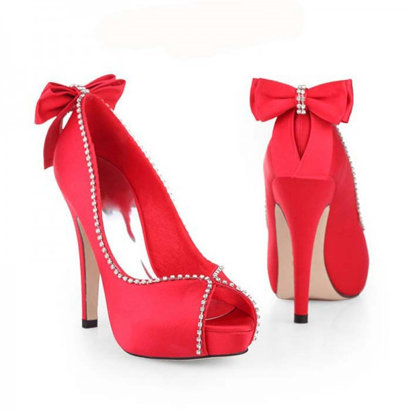 Women's Coral Red Bow Stiletto Heel Pumps Bridal Heels image 4