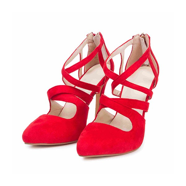 Women's Coral Red Crossed-over Ankle Straps Stiletto Heels Sandals image 2