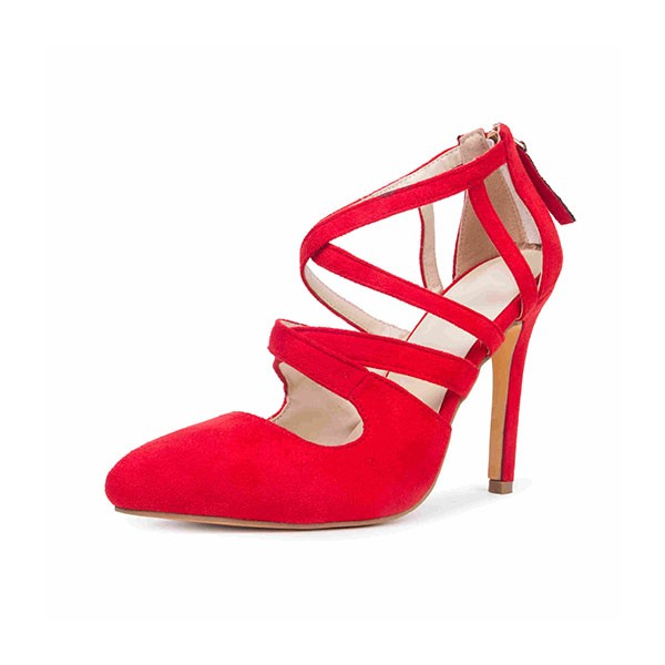 Women's Coral Red Crossed-over Ankle Straps Stiletto Heels Sandals image 1