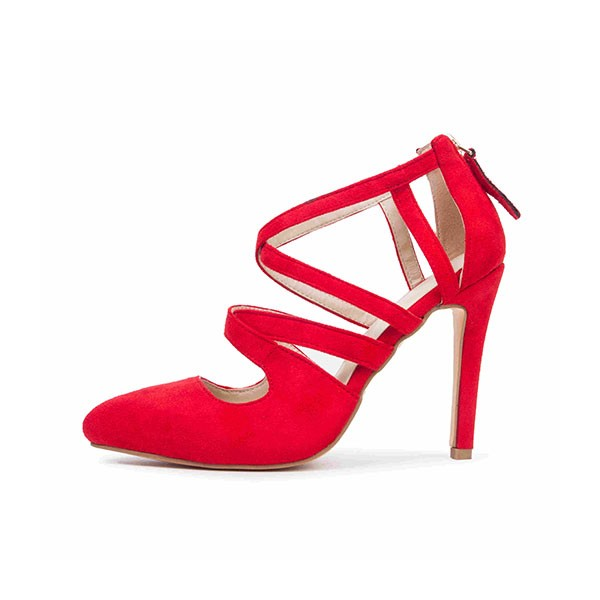 Women's Coral Red Crossed-over Ankle Straps Stiletto Heels Sandals image 4