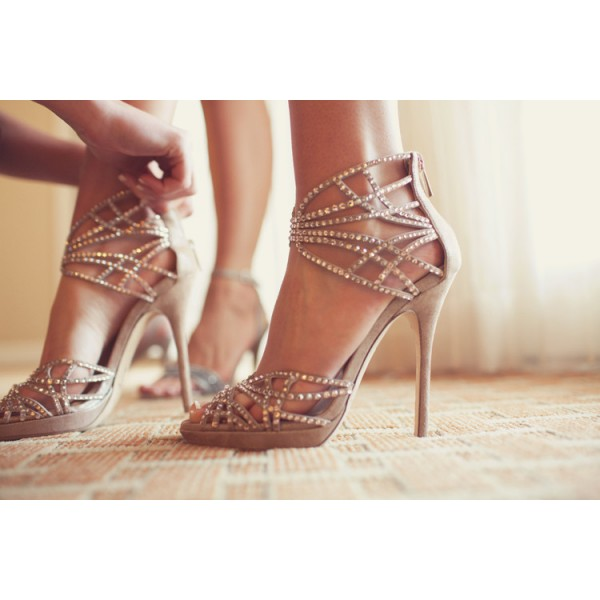 Beige Wedding Sandals Sequined Stiletto Heel Platform Shoes image 4