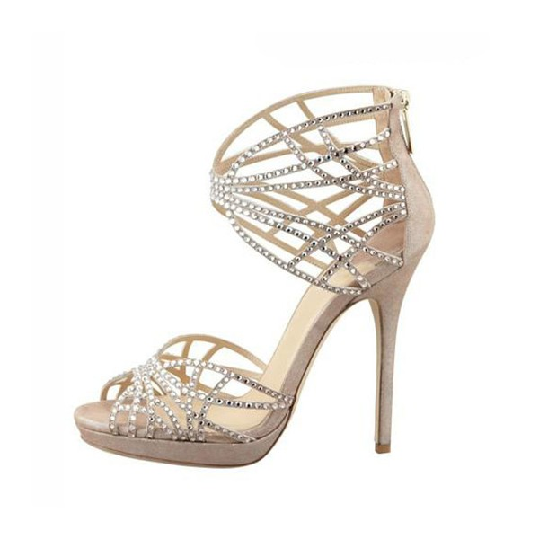 Beige Wedding Sandals Sequined Stiletto Heel Platform Shoes image 2
