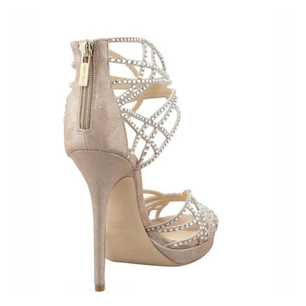 Beige Wedding Sandals Sequined Stiletto Heel Platform Shoes image 3