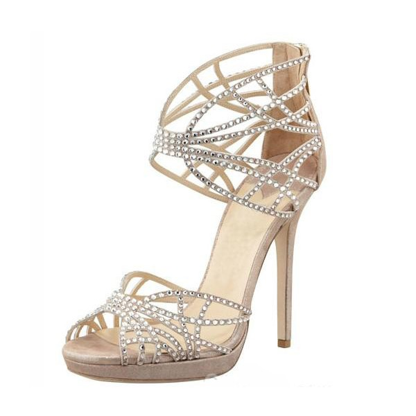 Beige Wedding Sandals Sequined Stiletto Heel Platform Shoes image 1