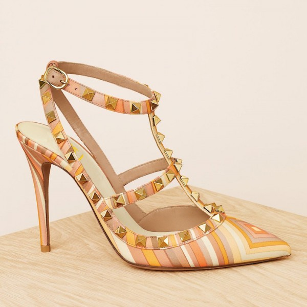 Multicolor Stripes T Strap Studs Shoes Stiletto Heel Pumps image 5