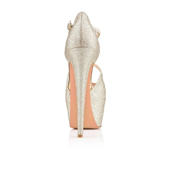 Women's Champagne Crossed-over Peep Toe Platform Sandals Glitter Shoes image 2