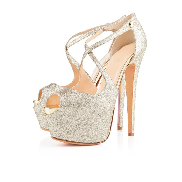Women's Champagne Crossed-over Peep Toe Platform Sandals Glitter Shoes image 1