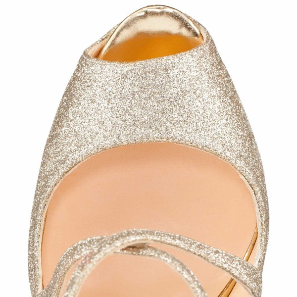 Women's Champagne Crossed-over Peep Toe Platform Sandals Glitter Shoes image 4