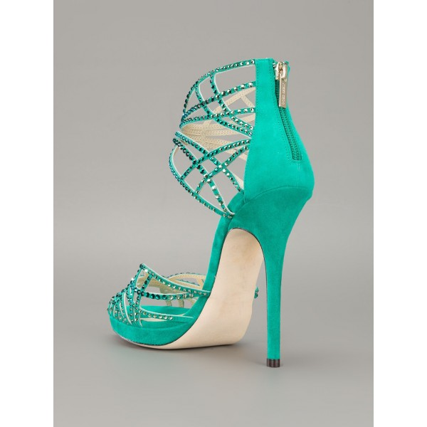 Green Evening Shoes Rhinestone Open Toe Stiletto Heels Sandals image 2