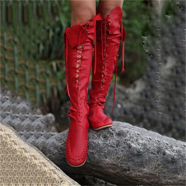 Women's Red Gladiator Boots Strappy Flat Knee-high Lace Up Boots image 1