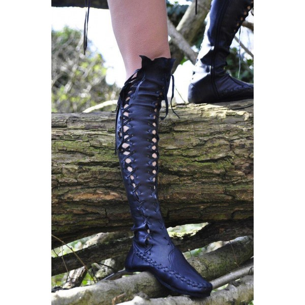 Women's Black Strappy Round Toe Lace-up Vintage Boots image 1