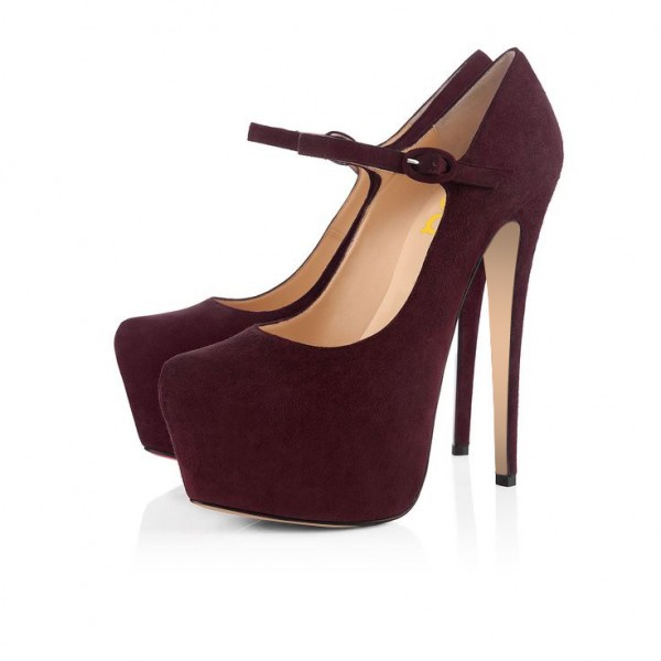 Burgundy Heels Suede Mary Jane Pumps with Platform image 4