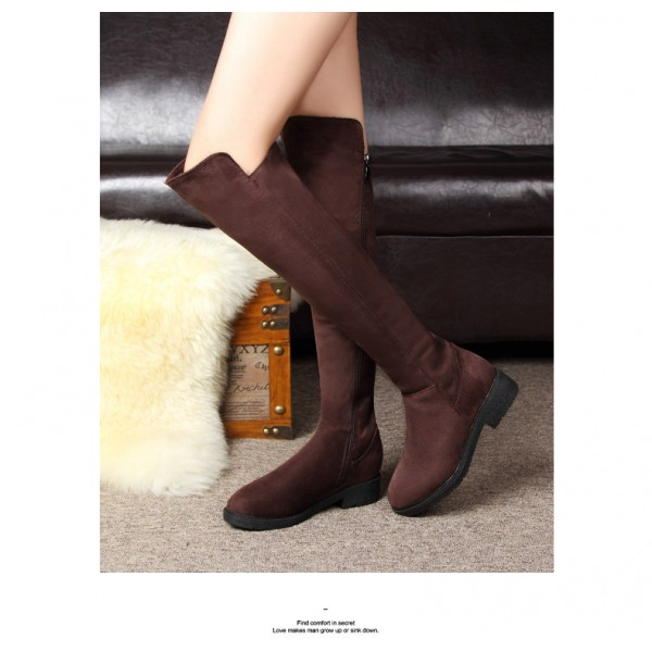 Women's Brown Suede Over-The-Knee Boots Comfortable Shoes image 2